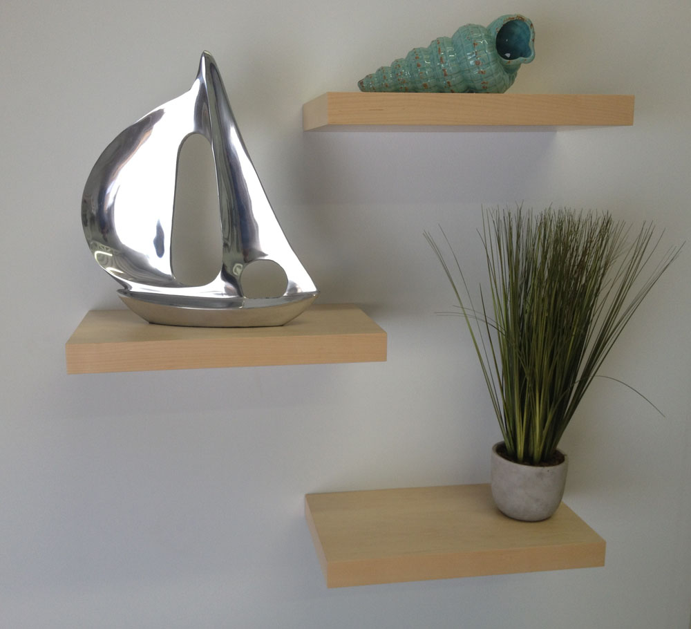 maple floating shelves